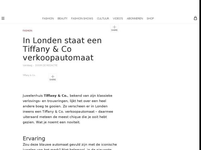 In Londen staat een Tiffany & Co verkoopautomaat