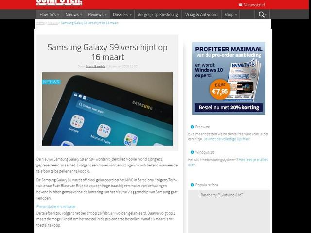 Samsung Galaxy S9 verschijnt op 16 maart