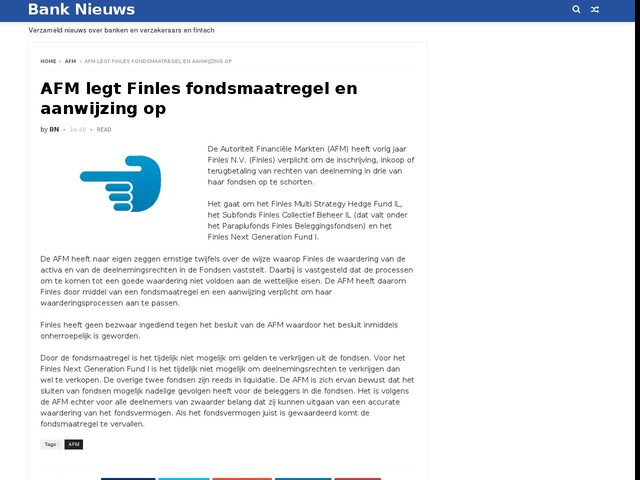 AFM legt Finles fondsmaatregel en aanwijzing op