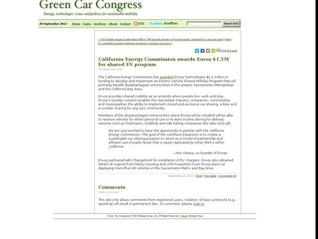 California Energy Commission awards Envoy $1.5M for shared EV program