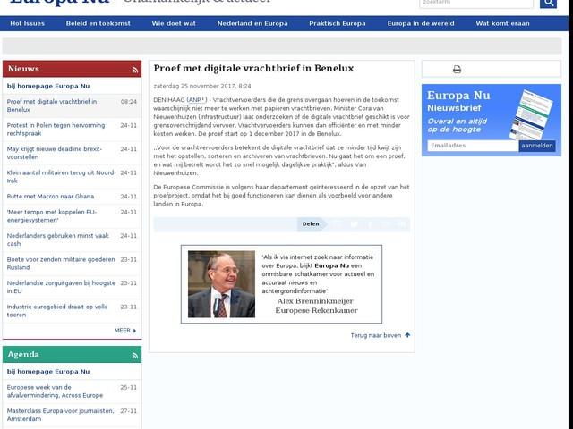 Proef met digitale vrachtbrief in Benelux