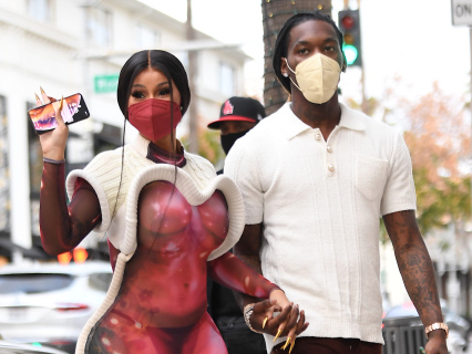 Coupled Up: Copiously Curvy Cardi Flosses Her Bodacious Bawwwdy On Beverly Hills Shopping Spree With Hubby Offset