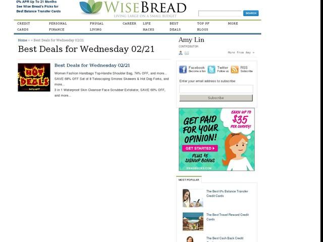 Best Deals for Wednesday 02/21