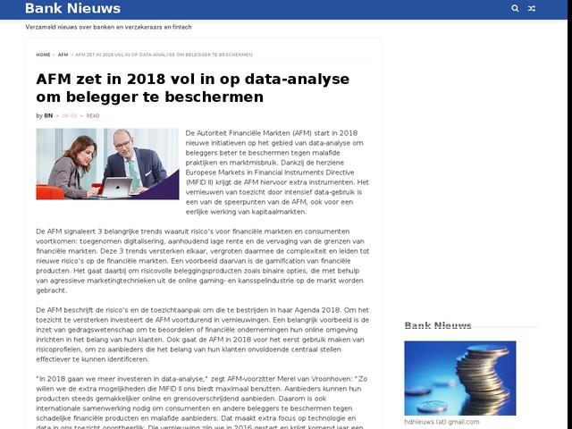AFM zet in 2018 vol in op data-analyse om belegger te beschermen