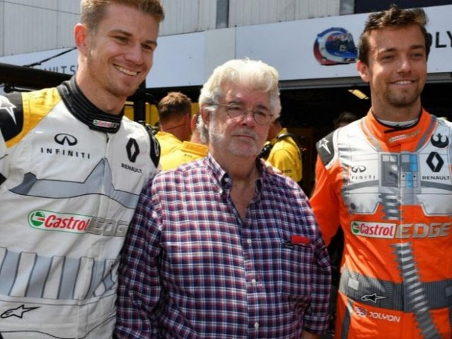 George Lucas Joins The Renault F1 Team At Monaco. Cars Livery Includes The Star Wars 40th Logo