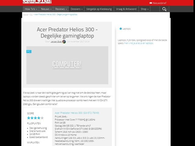 Acer Predator Helios 300 - Degelijke gaminglaptop