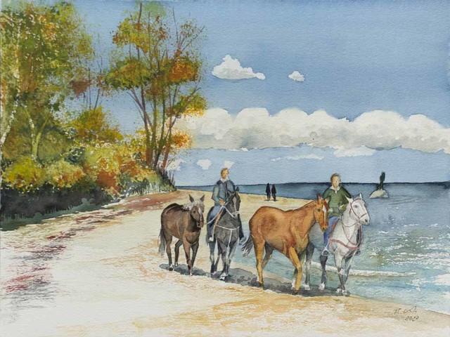 Malen und Reiten am Ostseestrand von Sellin