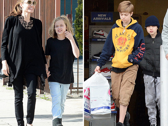Angelina Jolie Takes Shiloh, Vivienne, And Knox To Buy Discount Shoes!