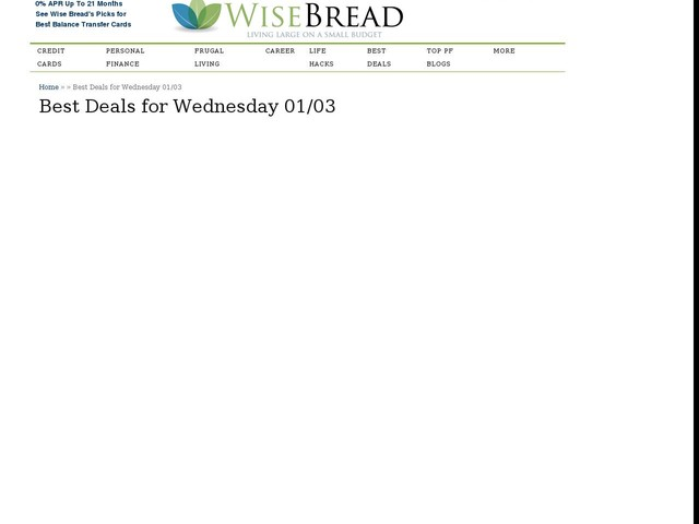 Best Deals for Wednesday 01/03