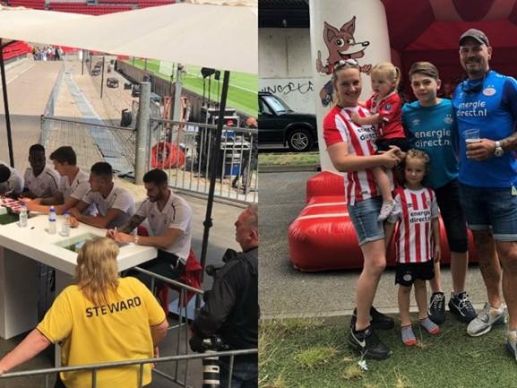 Pixie en Skylar zijn er al jong bij, opnieuw lange rijen voor handtekeningen tijdens de PSV FANdag