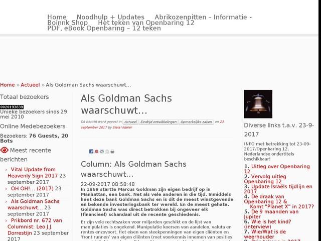 Als Goldman Sachs waarschuwt…