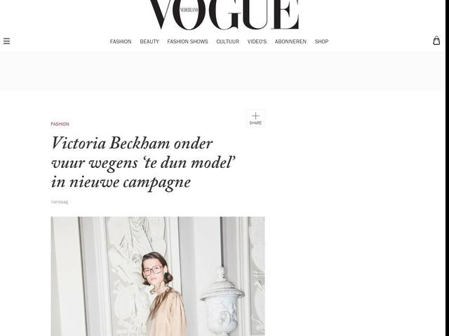 Victoria Beckham onder vuur wegens 'te dun model' in nieuwe campagne