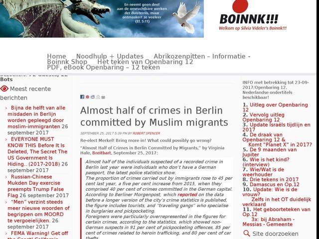 Bijna de helft van alle misdaden in Berlijn worden gepleegd door moslim-immigranten
