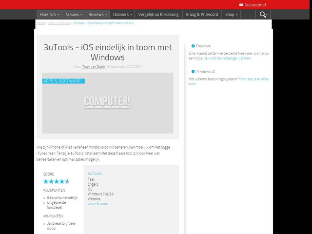3uTools - iOS eindelijk in toom met Windows