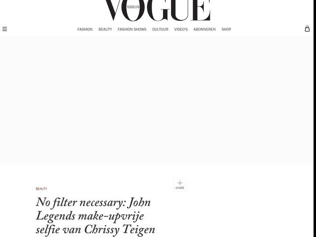 No filter necessary: John Legends make-upvrije selfie van Chrissy Teigen
