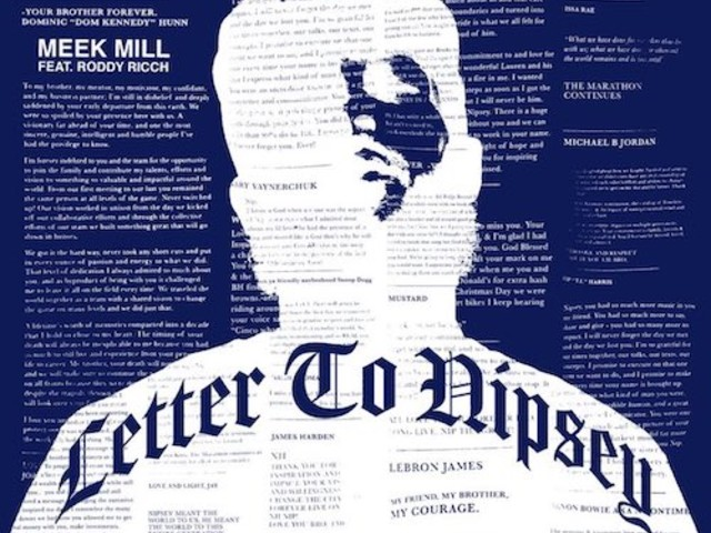 """Meek Mill Drops """"Letter To Nipsey"""" With Roddy Ricch"""