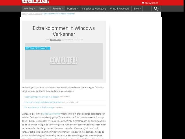 Extra kolommen in Windows Verkenner