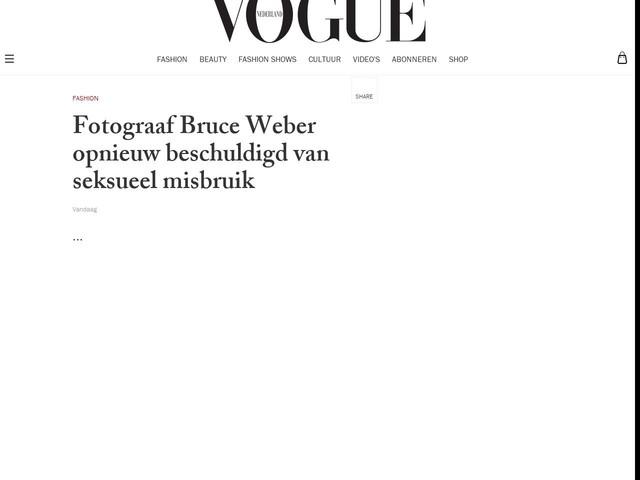 Fotograaf Bruce Weber opnieuw beschuldigd van seksueel misbruik