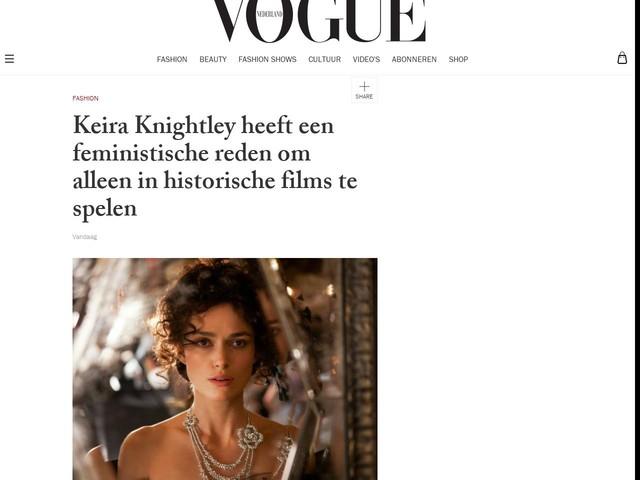 Keira Knightley heeft een feministische reden om alleen in historische films te spelen