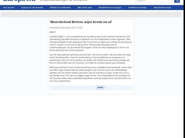 'Meerderheid Britten wijst brexit nu af'