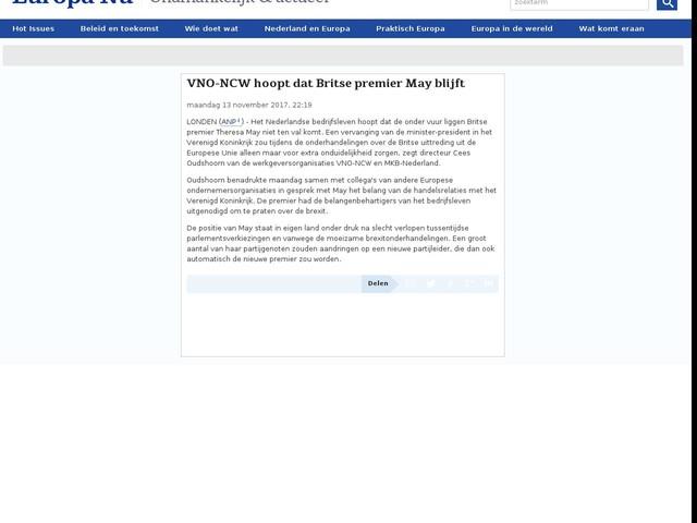 VNO-NCW hoopt dat Britse premier May blijft