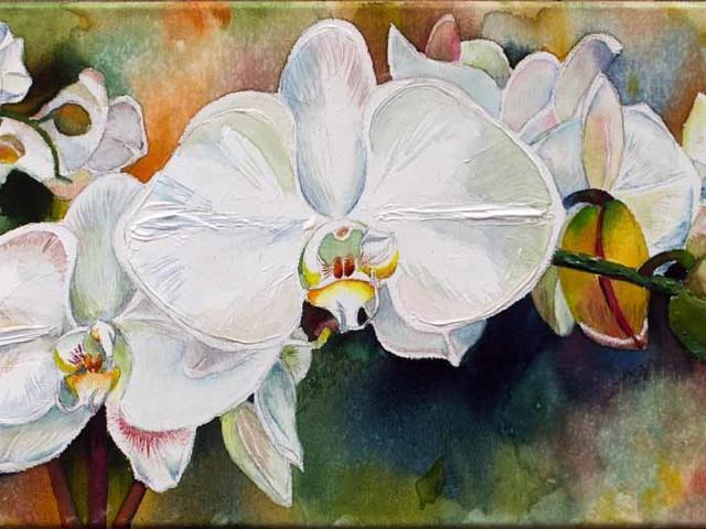 Weiße Orchideen – ein Aquarell auf Leinwand