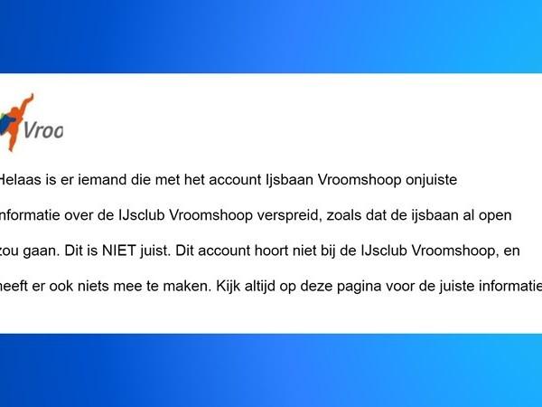 IJsclub Vroomshoop heeft last van nepprofiel op Facebook