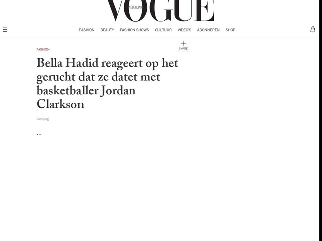 Bella Hadid reageert op het gerucht dat ze datet met basketballer Jordan Clarkson