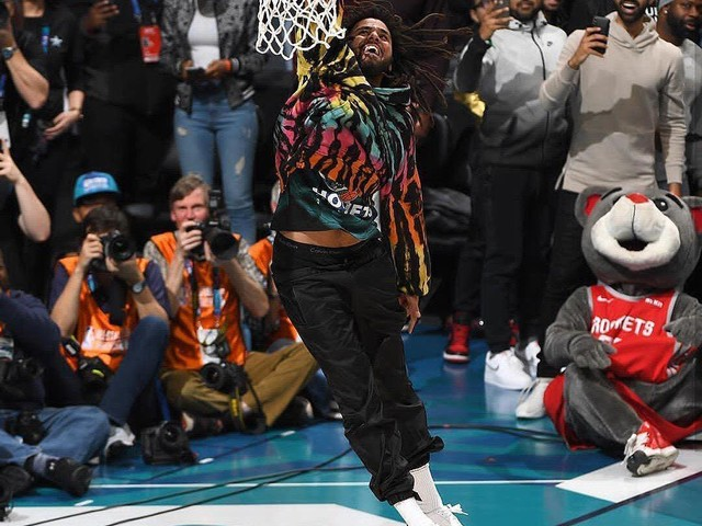 J. Cole Performs At 2019 NBA All-Star Game Halftime Show