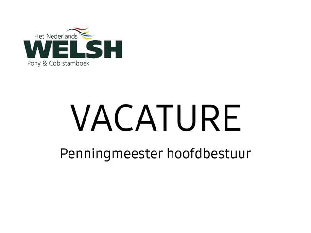 Vacature: Penningmeester hoofdbestuur