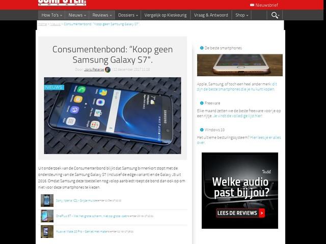 "Consumentenbond: ""Koop geen Samsung Galaxy S7""."