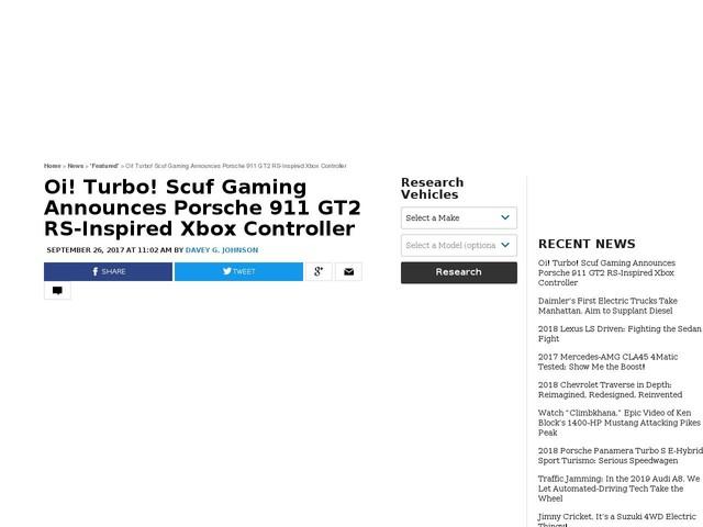 Oi! Turbo! Scuf Gaming Announces Porsche 911 GT2 RS-Inspired Xbox Controller