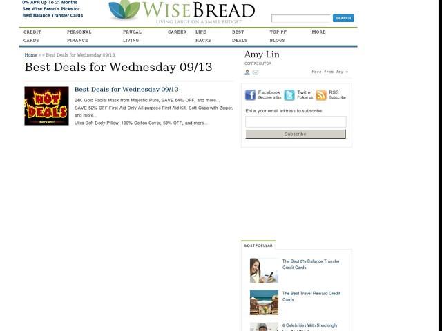 Best Deals for Wednesday 09/13