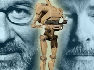 VIDEO - George Lucas Introduces A Battle Droid From Star Wars to Steven Spielberg