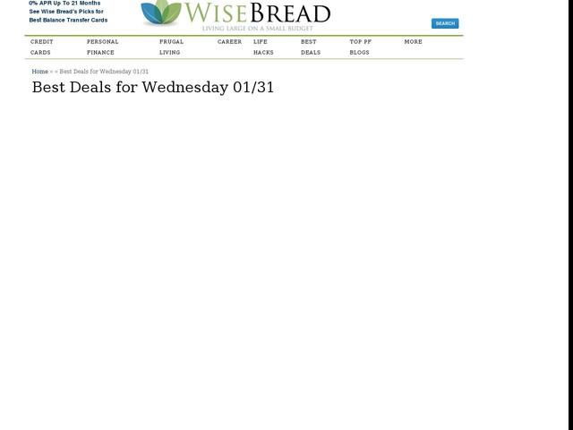 Best Deals for Wednesday 01/31