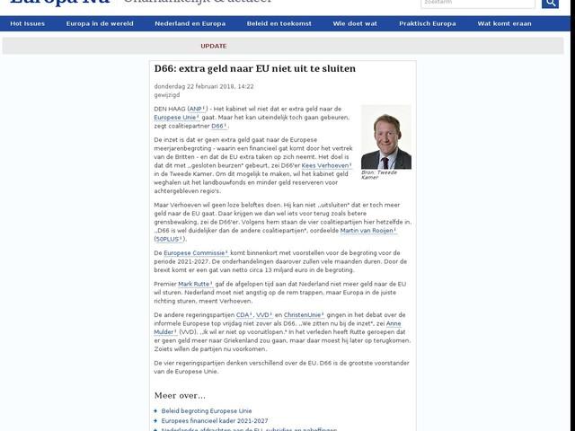 D66: extra geld naar EU niet uit te sluiten