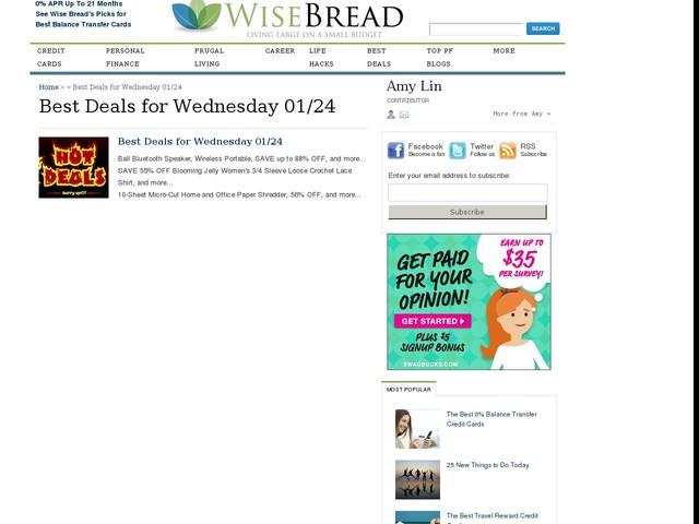 Best Deals for Wednesday 01/24