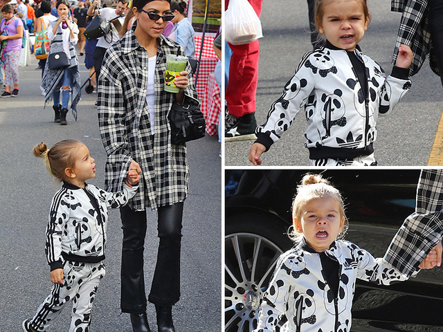 EXCLUSIVE PHOTOS - Kourtney And Reign Dress In Mommy-And-Me Matching Black And White