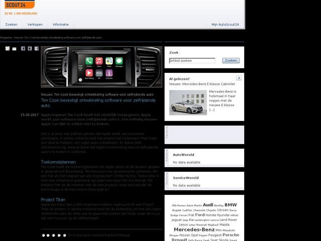 Nieuws: Tim Cook bevestigt ontwikkeling software voor zelfrijdende auto - Tim Cook bevestigt ontwikkeling software voor zelfrijdende auto