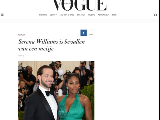 Serena Williams is bevallen van een meisje