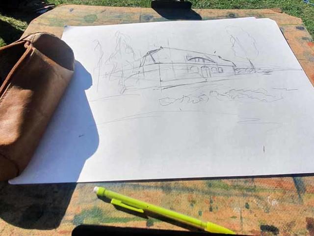 Das Landhaus Mönchgut als Motiv im Rahmen unserer Malreise