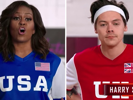 See Michelle Obama Dodgeball Harry Styles In The Balls!