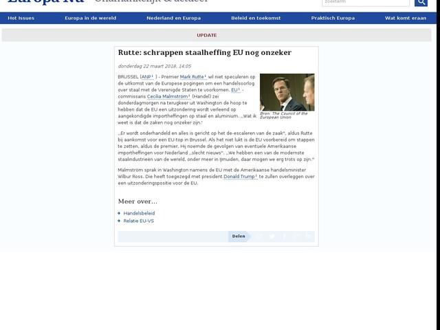 Rutte: schrappen staalheffing EU nog onzeker