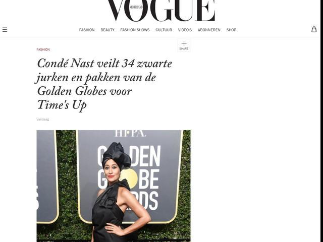 Condé Nast veilt 34 zwarte jurken en pakken van de Golden Globes voor Time's Up