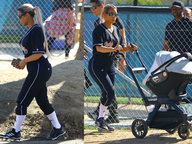Cakes: Kim K Brings Chicago West And Her Overstuffed Donk To The Baseball Diamond