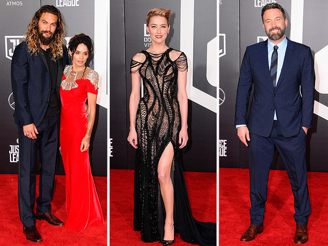 Newlyweds Jason Momoa And Lisa Bonet Look Loved Up, Amber Heard Stuns In Black, And Ben Affleck Beams At Justice League Premiere