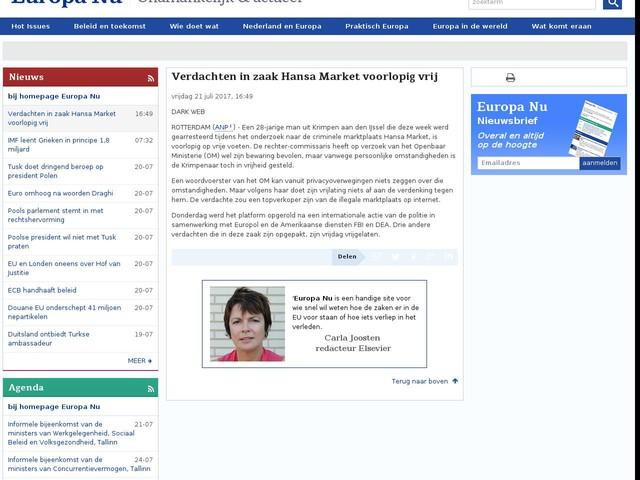 Verdachten in zaak Hansa Market voorlopig vrij
