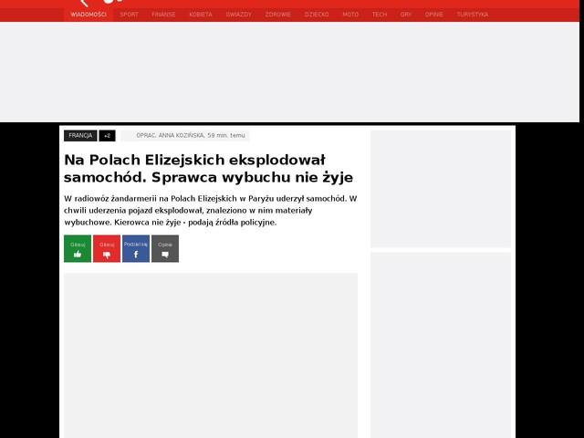 Na Polach Elizejskich eksplodował samochód. Sprawca wybuchu nie żyje