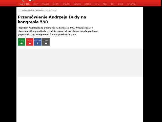 Przemówienie Andrzeja Dudy na kongresie 590