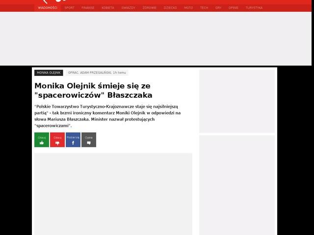 """Monika Olejnik śmieje się ze """"spacerowiczów"""" Błaszczaka"""